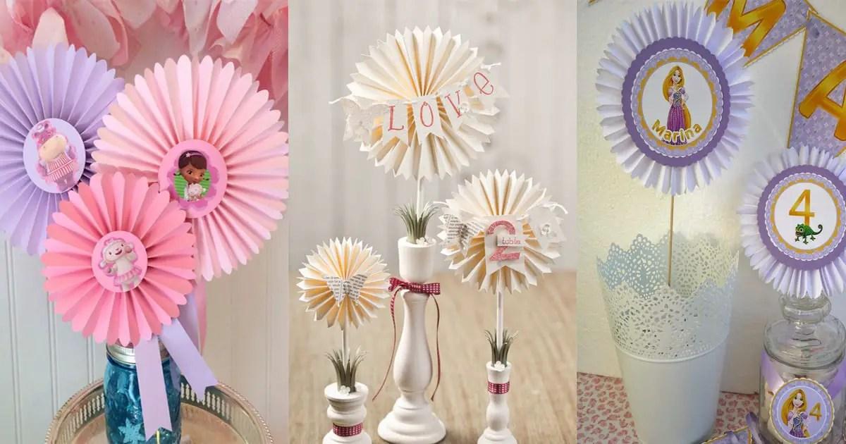 Centros de mesa con rosetones o rosetas de papel Dale Detalles