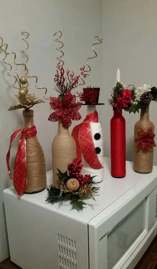 Decoraci n navide a con botellas de vidrio dale detalles - Decoracion navidena artesanal ...