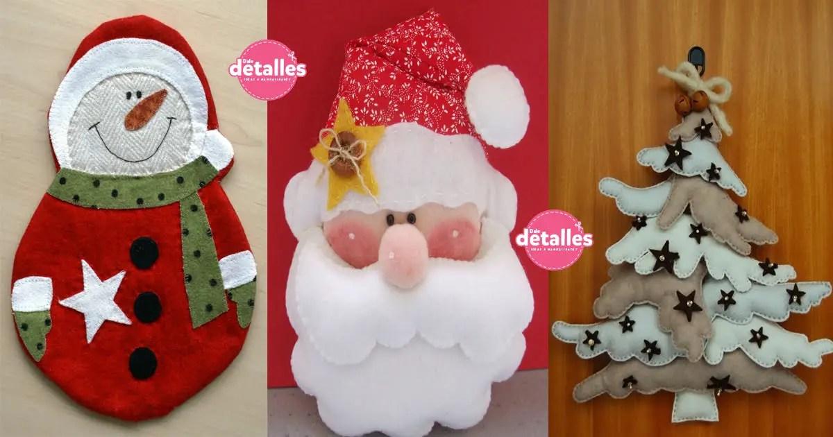lindos adornos de navidad con fieltro incluyen moldes