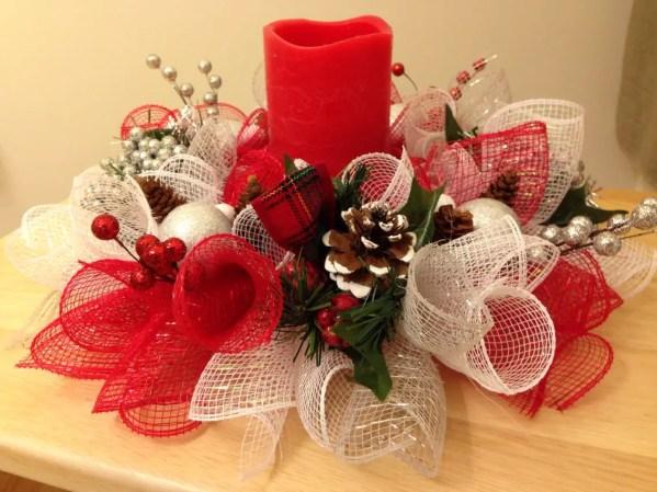 Centro de mesa navide o con malla decorativa dale detalles - Centros navidenos de mesa ...