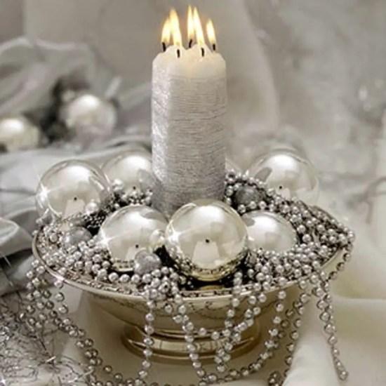 Centros de mesa navideños en color blanco y plata - Dale