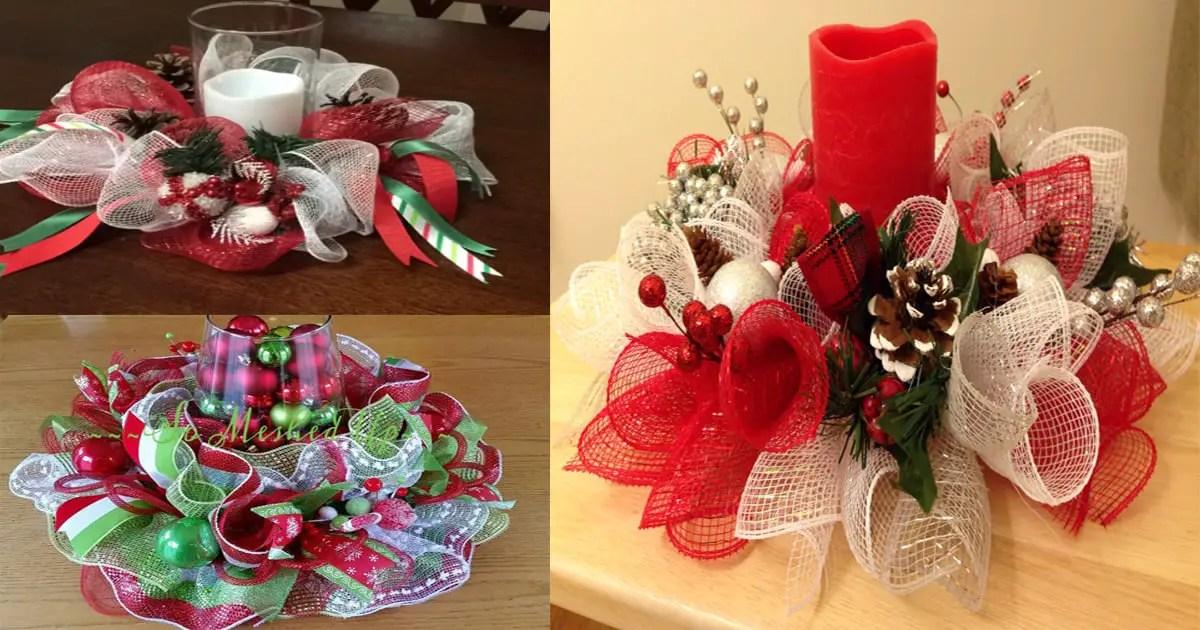 Centro de mesa navide o con malla decorativa dale detalles - Centro de mesa navideno ...