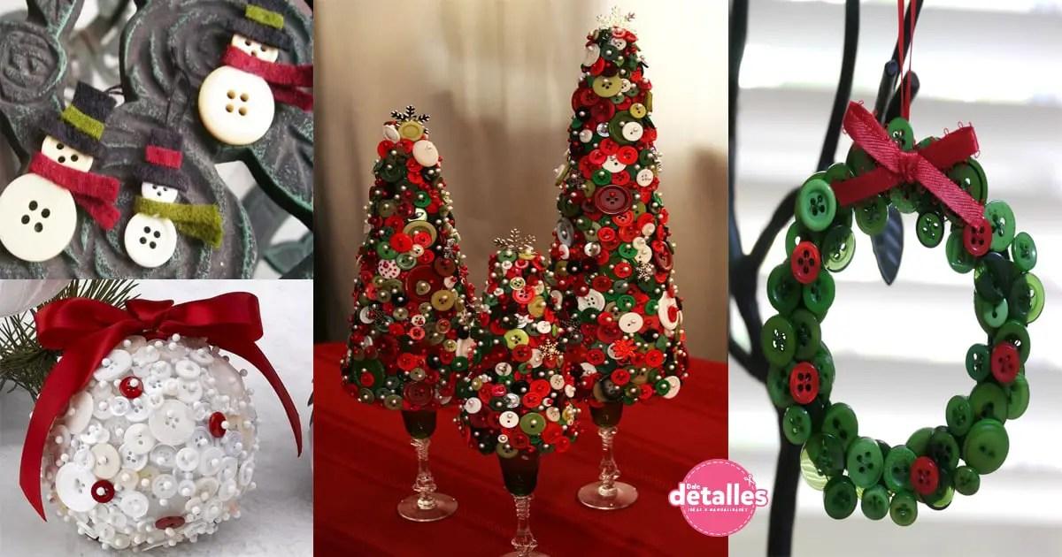 Crea incre bles decoraciones navide as con botones dale for Decoraciones navidenas faciles de hacer