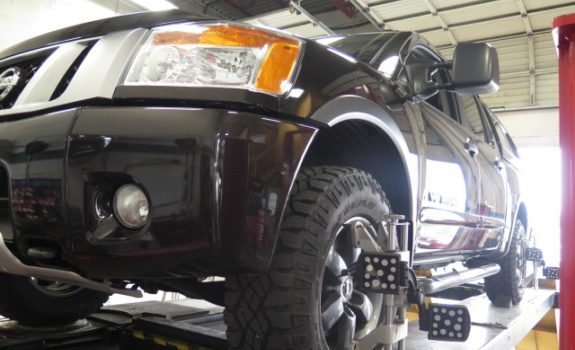 2014 Nissan Titan was in for Bilstein 5100 front level off struts and rear shocks