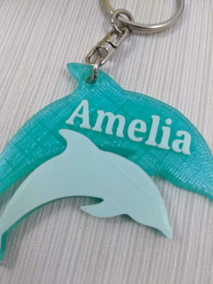 Personalised Dolphin Keyring in Green