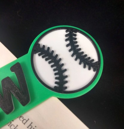 Personalised Baseball bookmark in green