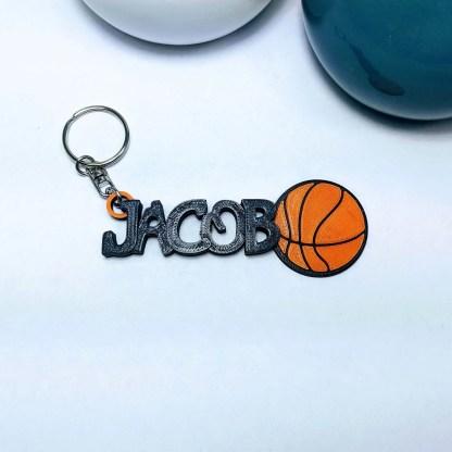 Personalised Basketball Keyring in Black