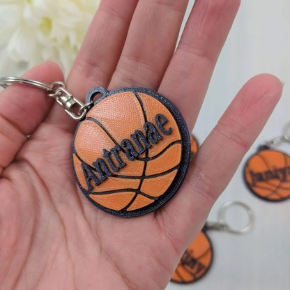 Basketball Keyring in sparkly black