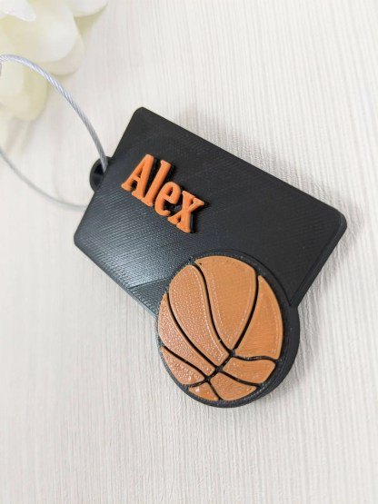 Personalised basketball luggage tag in black