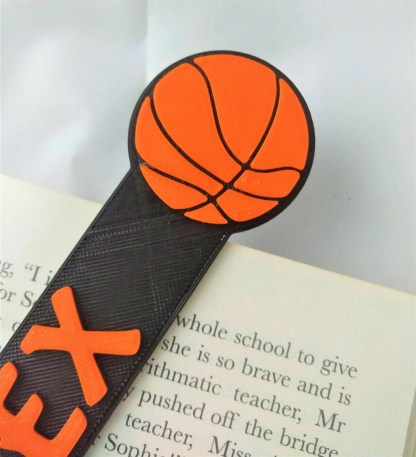 basketball themed bookmark in black