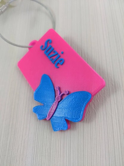 Butterfly Luggage Tag in pink and blue