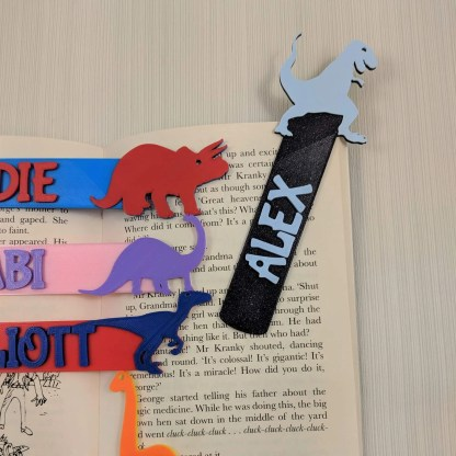 Dinosaur book marks in various colours and designs
