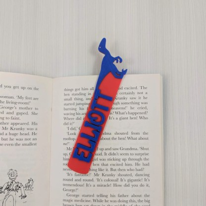Dinosaur Bookmark 4 in Red and Blue