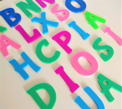 Colourful door letters