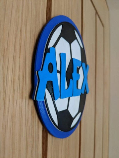 Personalised football door sign - blue