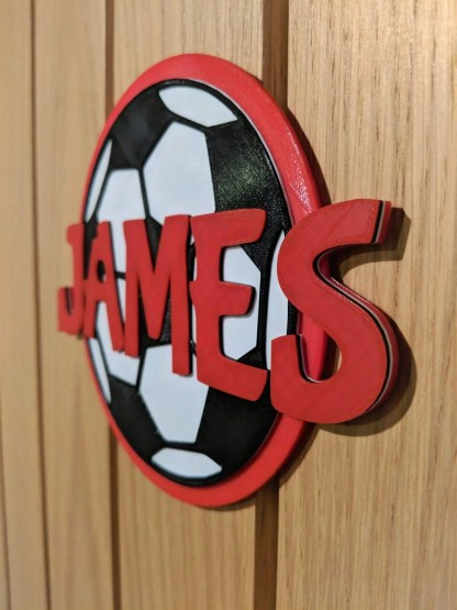 Personalised football door sign in red