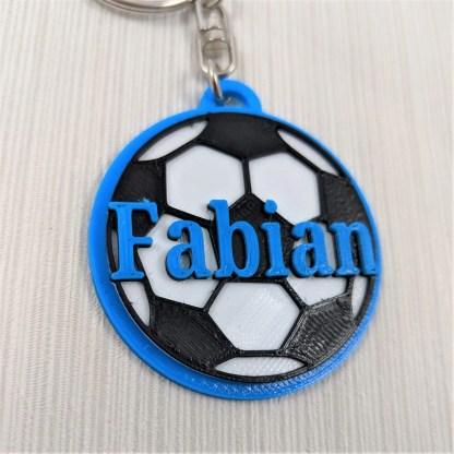 Personalised football keyring in blue