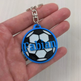 Personalised football keyring in blue