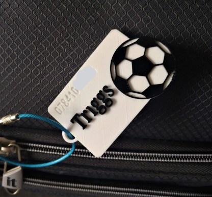 personalised football luggage tag
