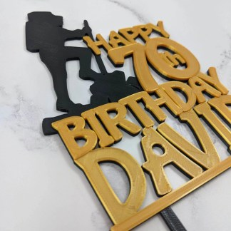 70th birthday cake topper - gold