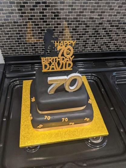 70th birthday cake topper - gold