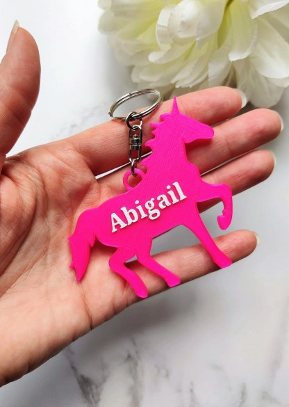 Personalised unicorn keyring, Personalized keychain, under 5 pounds, unicorn book bag tag, party bag filler, name tag, 3D Printed 1