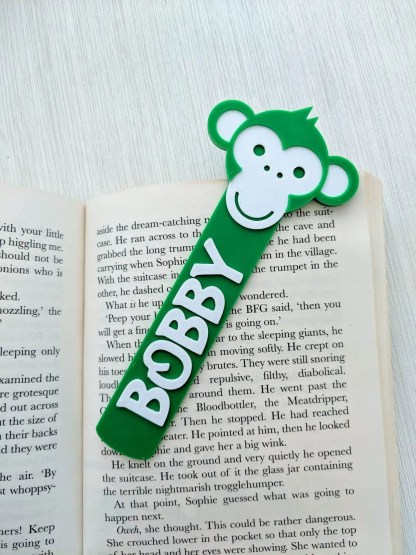 Monkey themed bookmark in green