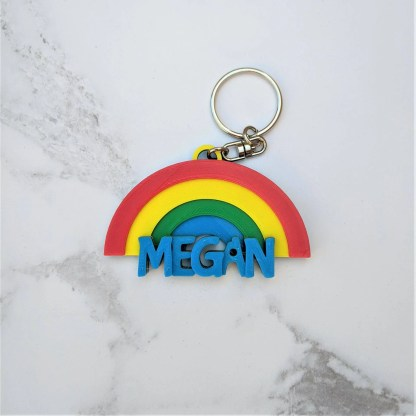 Keyring with rainbow and name underneath