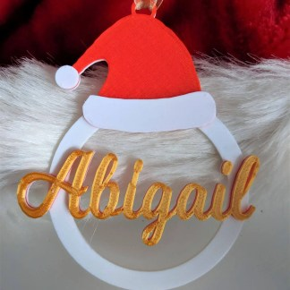 Personalised christmas tree decoration - santa hat bauble