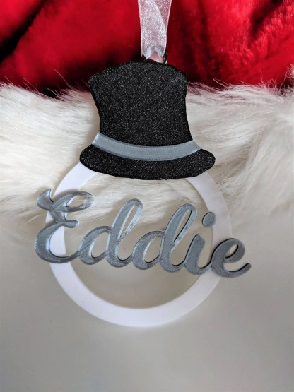 Personalised Christmas decoration - snowman's hat