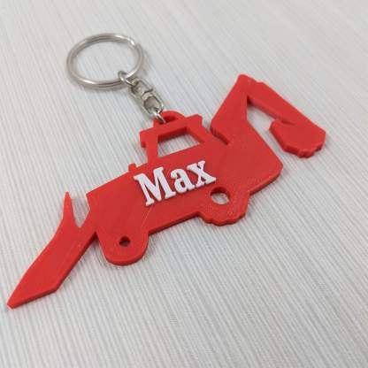 Digger themed keyring with name in red and white