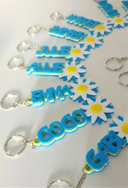 Personalised flower keyrings in blue