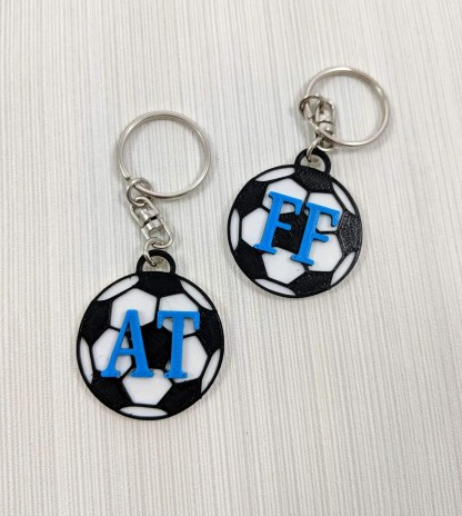 Personalised football keyrings with initials
