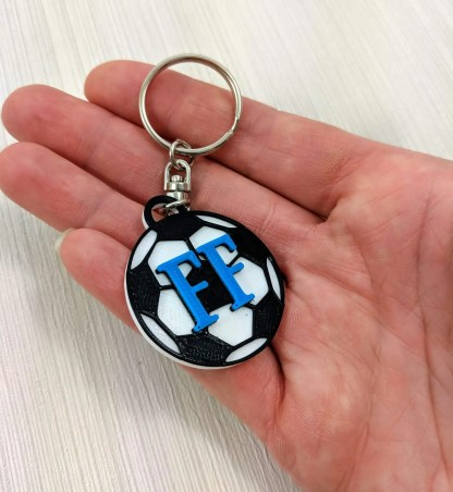 Personalised football keyrings with initials - in mid blue