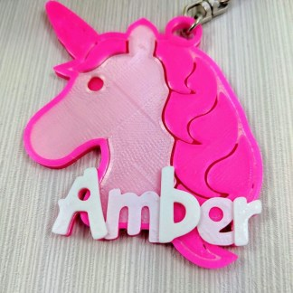 Unicorn personalised keyring