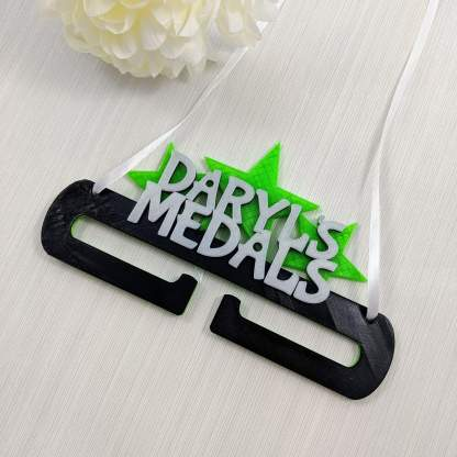 Personalised Medal holder - name in stars - black and green