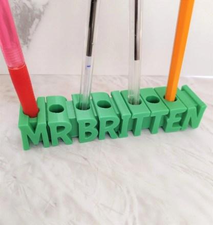 Personalised Pen pot in green