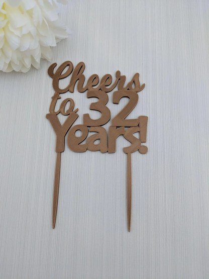 Named Cake topper with age - Cheers to 32 years