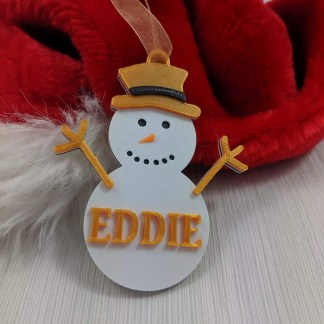 Personalised Snowman Christmas Tree decoration