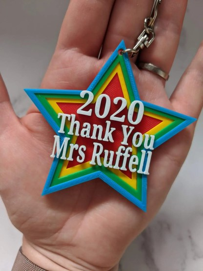 Colourful Keyring in star shape Saying 2020 Thankyou to teacher