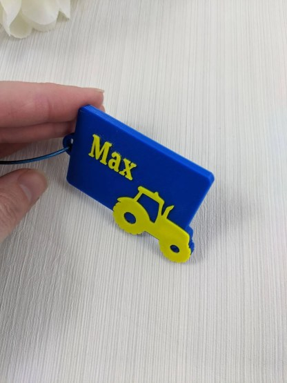Custom made luggage tag in blue and yellow