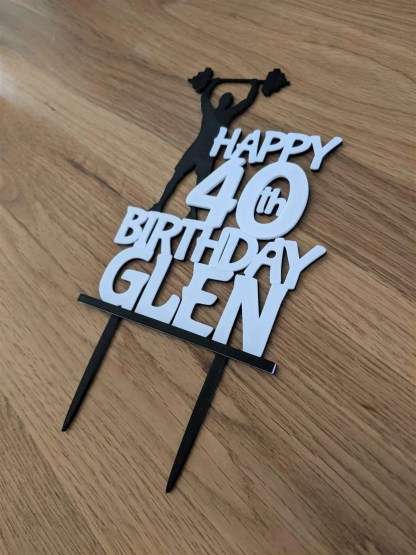 Weightlifter themed cake topper