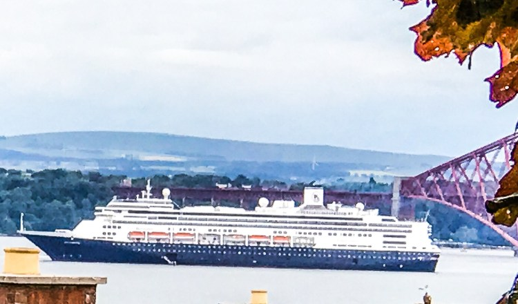 Cruise ship on River Forth with Clouds overhead