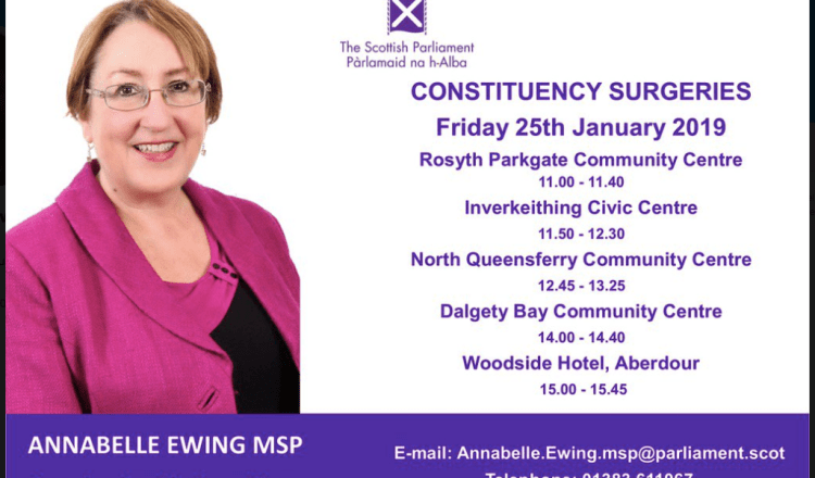 Annabelle Ewing MSP Surgeries today 25/1/2019