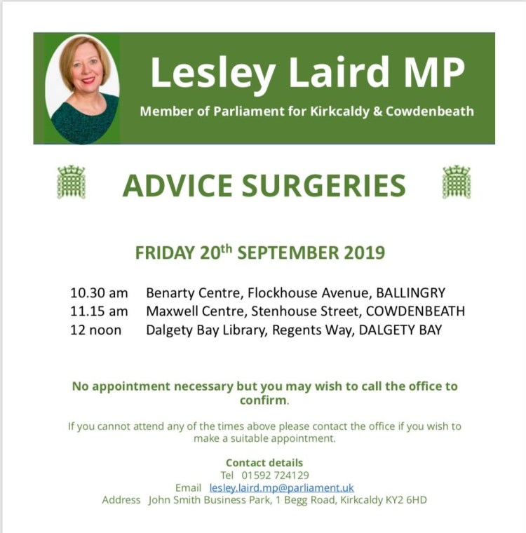Lesley Laird Surgery Note for Friday 20th September 2019