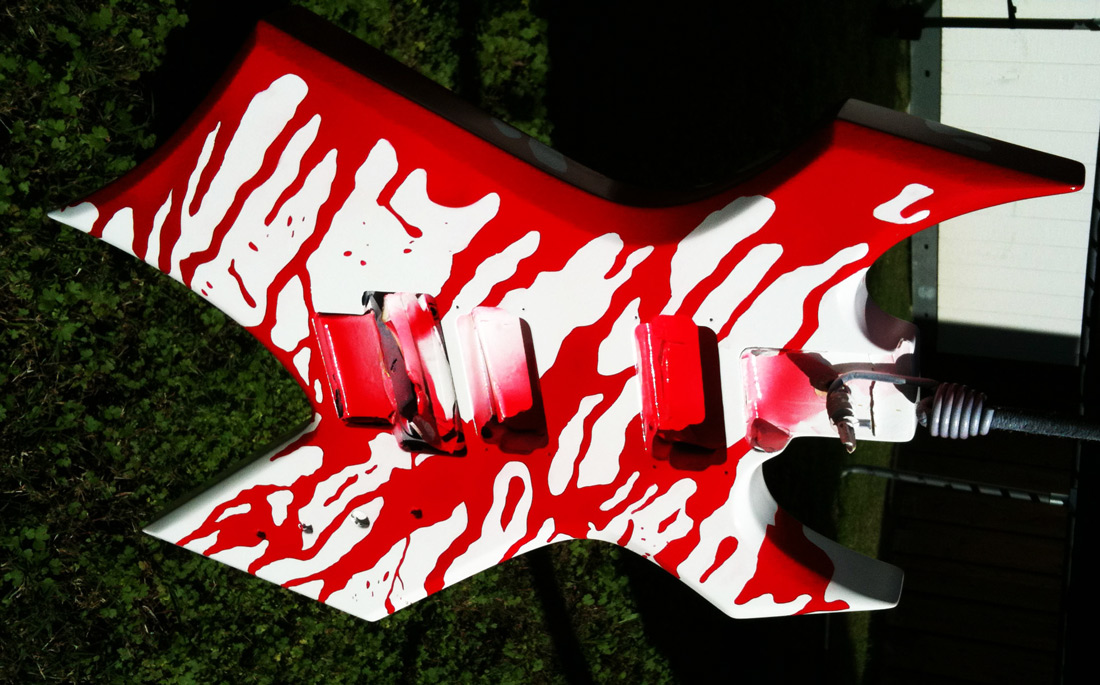 Custom Painted Guitar With Blood Splatter Over White