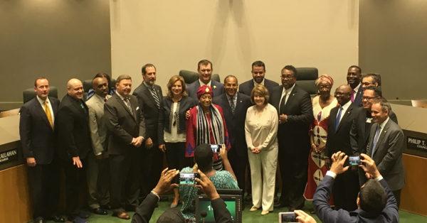 Mayor Rawlings names Liberian President honorary citizen