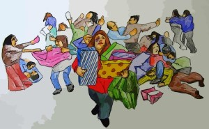 33985637 - digital art depicting frantic black friday shoppers