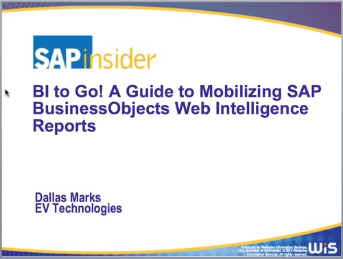 SAP Mobile BI to Go at SAP Insider