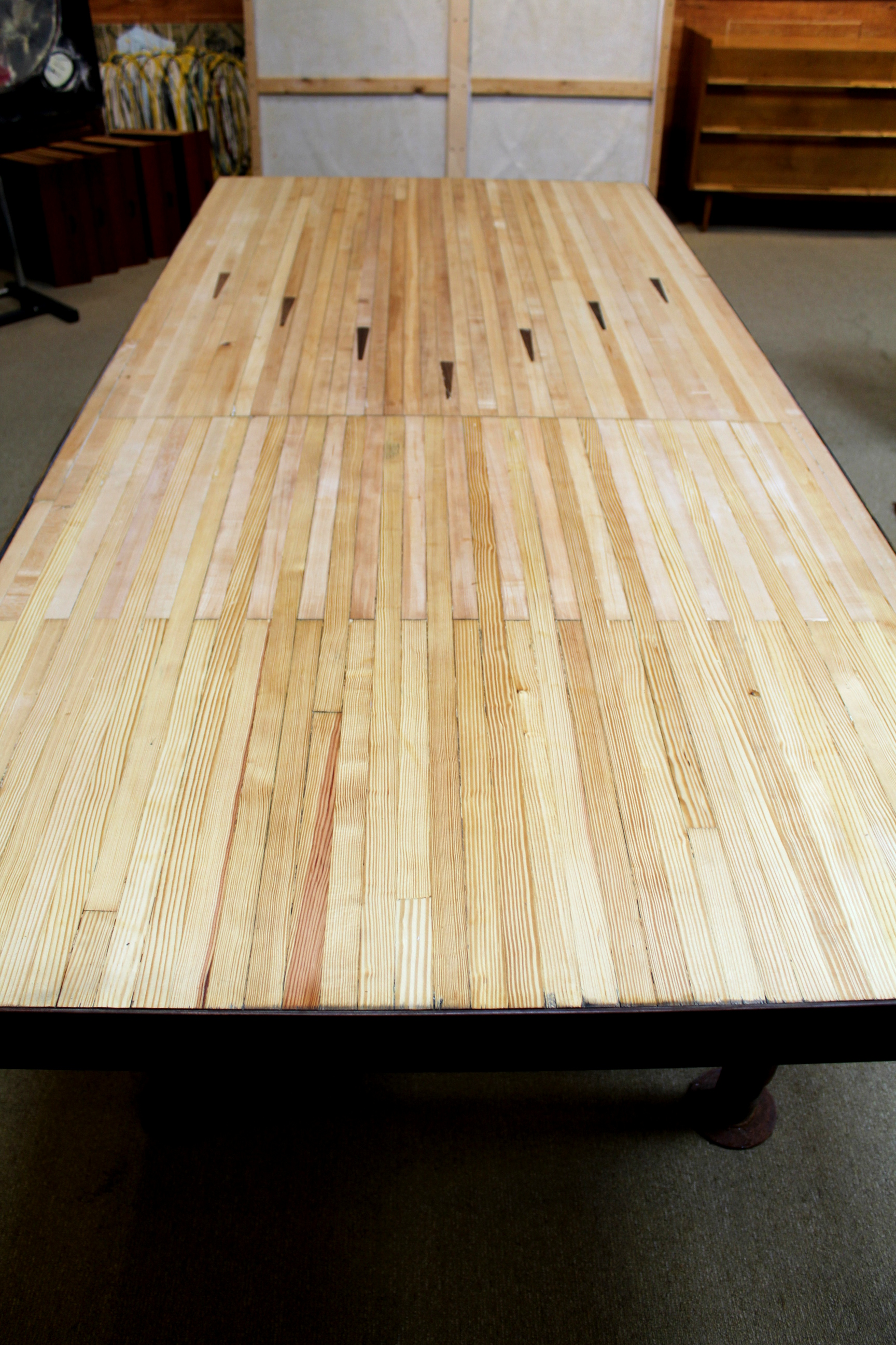 Large Dining Room Table Vintage Bowling Alley Floor Dining Table Dallas Moderne